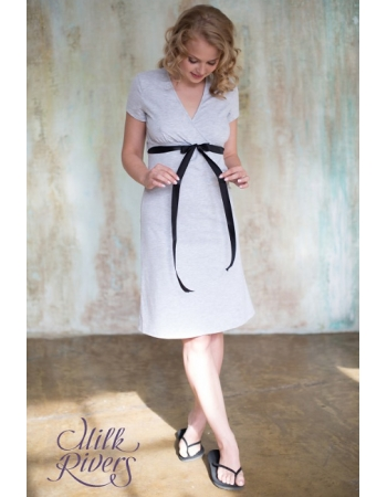 Платье домашнее с атласной лентой Milk Rivers серый меланж