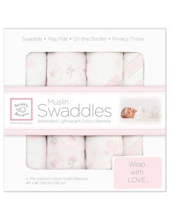 Муслиновые пеленки для новорожденного SwaddleDesigns большие набор 4, Pink Butterfly
