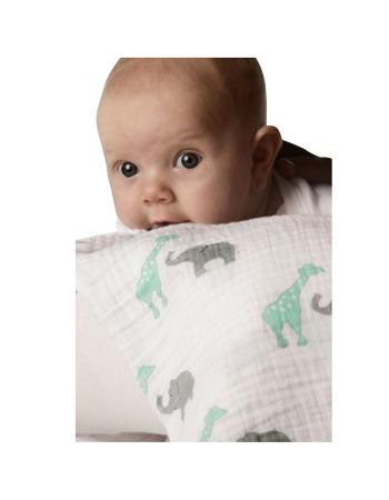 Пеленка детская тонкая SwaddleDesigns Маркизет SC Giraffe/Elephant