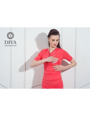 Платье для кормящих и беременных Diva Nursingwear Lucia кор.рукав, Corallo