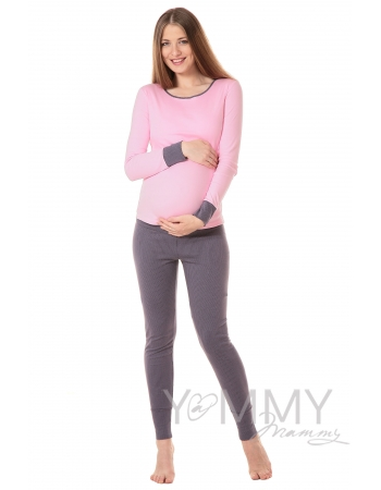 Комплект для дома серый / розовый горошек