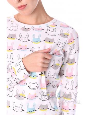 """Комплект для дома розовый с принтом """"зайчики/котики"""""""