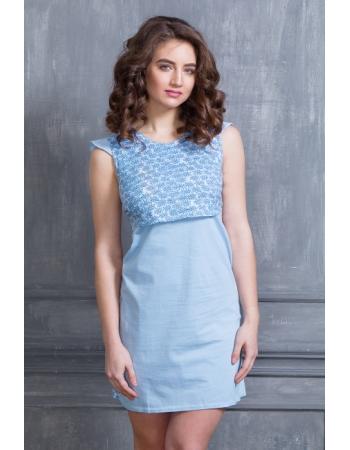 Ночная рубашка для беременных и кормящих Баюшка, голубая
