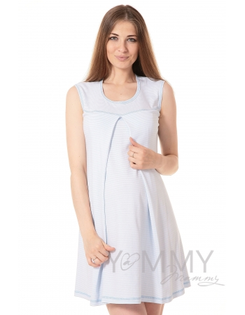 Комплект халат с сорочкой голубой/белая полоска
