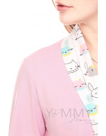 Комплект халат с сорочкой розовый с принтом котики/зайчики