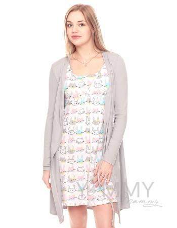 Комплект халат с сорочкой серый с принтом котики и зайчики