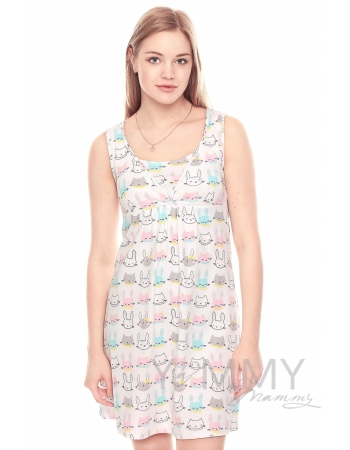 Комплект халат с сорочкой розовый с принтом котики и зайчики