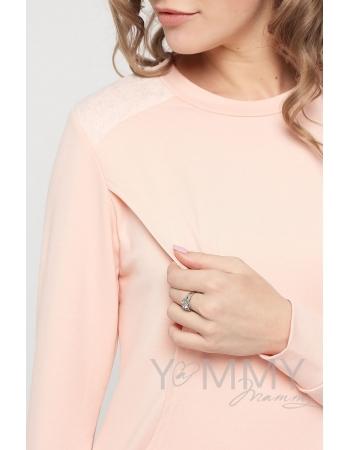 Свитшот светло-розовый с кружевом