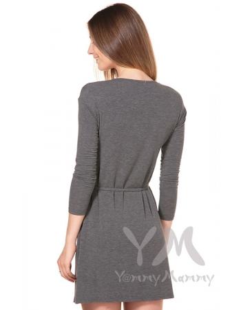 """Платье с горловиной """"качелька"""" серый меланж для беременных"""