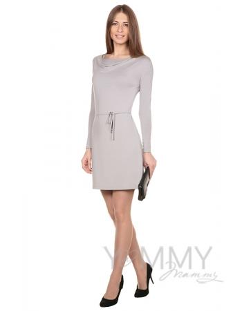 """Платье с горловиной """"качелька"""" из модала серый жемчуг для кормящих"""