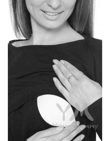 Платье с длинным рукавом чёрное для беременных