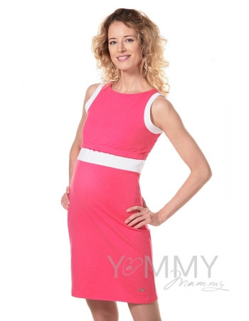 Платье лакоста фуксия с белой отделкой для беременных