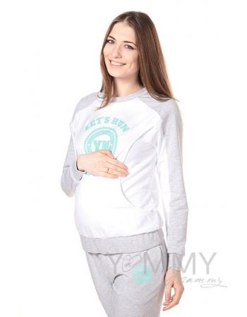 Толстовка для кормящих и беременных с принтом, цвет белый