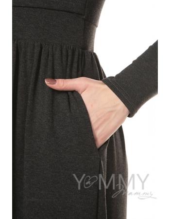 Платье длинное с начесом темно-серый меланж для беременных