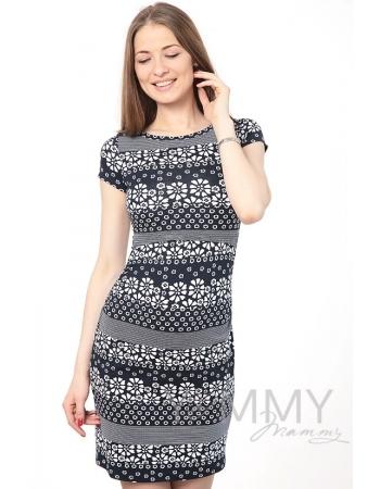 Платье темно-синее с цветочным принтом для кормящих