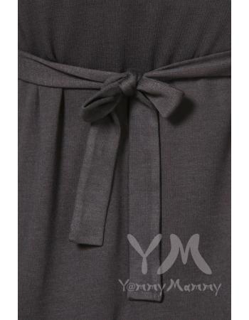 Платье графитовое с пояском на спине для беременных