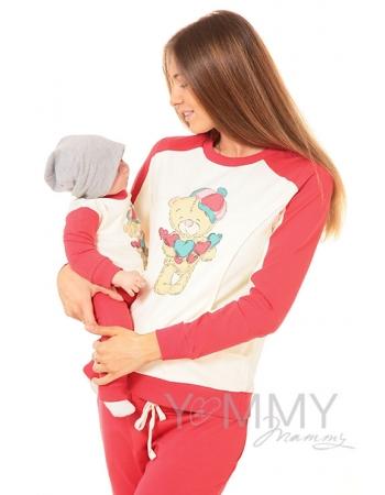 """Толстовка для кормящих и беременных  с принтом """"Teddy"""", цвет коралловая/экрю"""