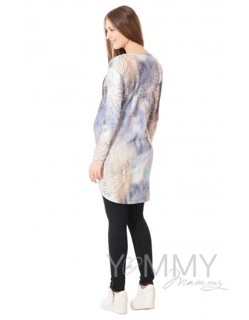 Платье с длинным рукавом белый/голубой рисунок для кормящих