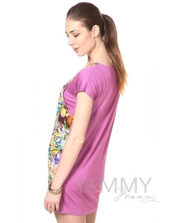 Платье-туника орхидея с цветочным принтом для кормящих