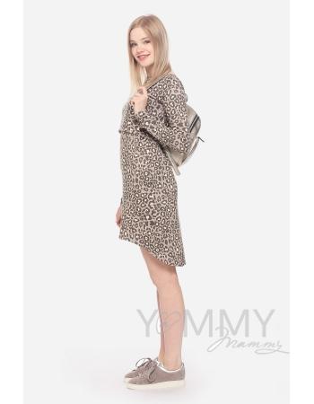 Платье-туника для кормящих и беременных с длинным рукавом, леопардовый принт