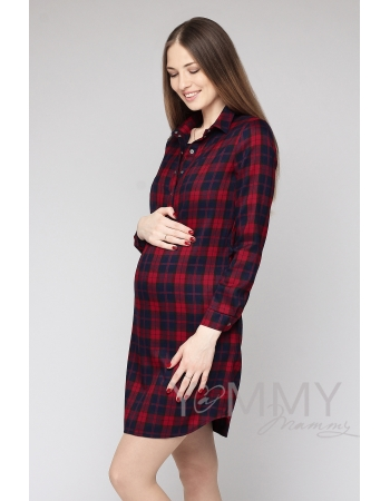 Платье-рубашка в красно-синюю клетку для кормящих