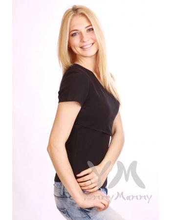 Футболка-кимоно для кормящих и беременных, цвет черный