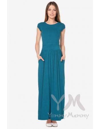 Платье длинное для кормящих и беременных с карманами, изумруд