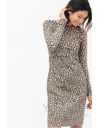 Платье-футляр для кормящих и беременных, с леопардовым принтом