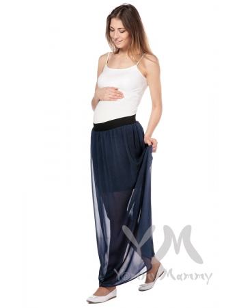 Юбка макси двухслойная темно-синяя в мелкий горошек для беременных