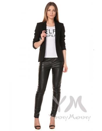 Универсальные брюки из эко-кожи черные для беременных