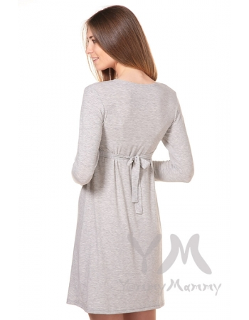 Платье с пояском на спине для кормящих и беременных, светло-серый меланж