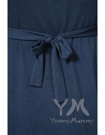 Платье с пояском на спине для беременных и кормящих, темный индиго