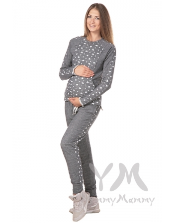 Универсальные брюки серый меланж с сердечками для беременных
