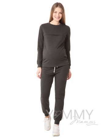 Универсальные спортивные брюки из футера темно-серый меланж для кормящих