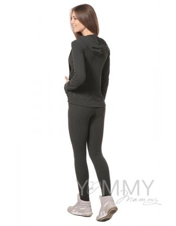 Леггинсы утепленные с начесом темно-серый меланж для беременных