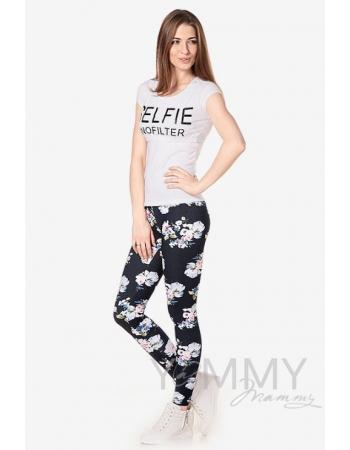 Джегинсы для беременных и родивших универсальные, джинсовый с белыми цветами