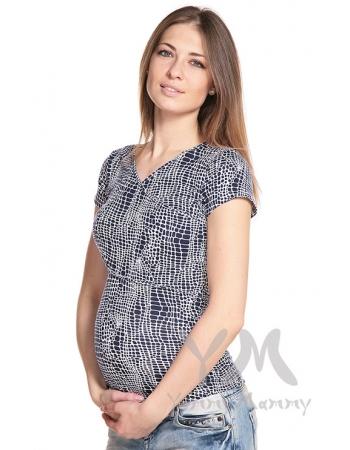 Футболка для беременных и кормящих, цвет синий с белым рисунком