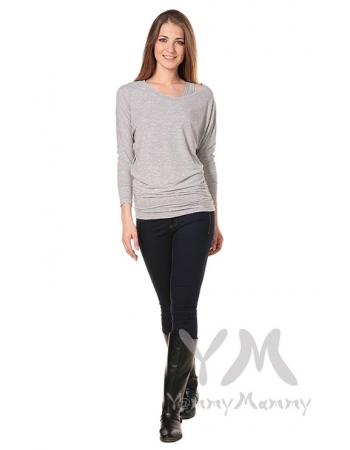 Блуза летучая мышь для кормящих и беременных, светло-серый меланж