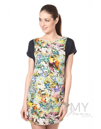 Платье-туника для беременных и кормящих, темно-синее с цветочным принтом