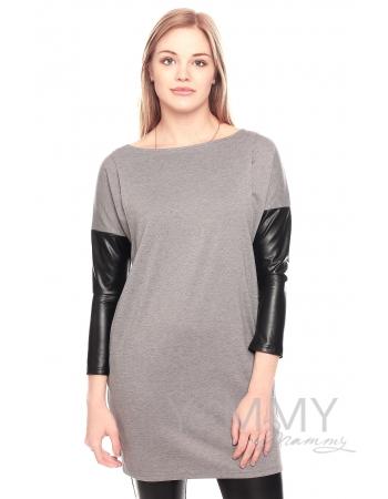 Платье-туника для кормящих и беременных, серое
