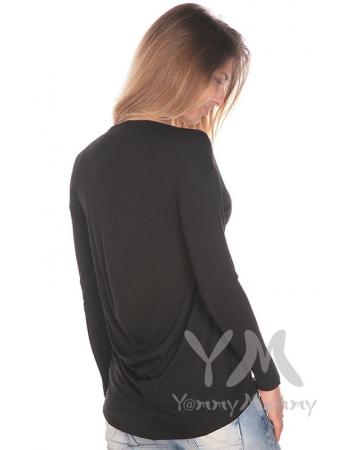 Туника с драпировкой на спине для беременных и кормящих, черная