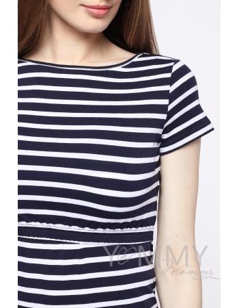 Платье для беременных и кормящих, белое в темно-синюю полоску