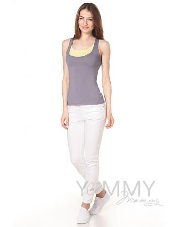 Майка для беременных и кормящих, цвет серый с жёлтым