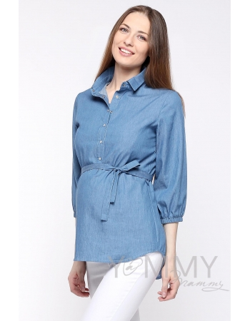 Рубашка джинсовая для беременных и кормящих, голубая