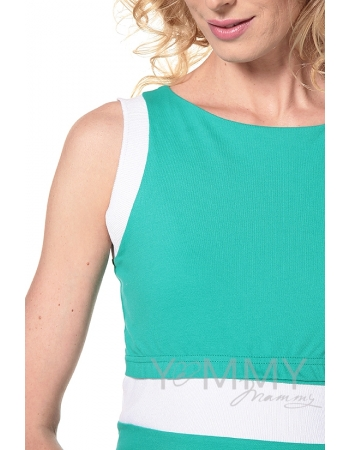 Платье для кормящих и беременных лакоста, ментол с белой отделкой