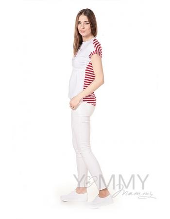 Футболка с принтом для беременных и кормящих, белая/красная полоска