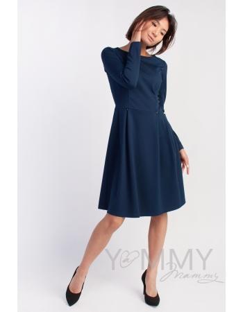 Платье для кормящих и беременных со складками, темно-синее