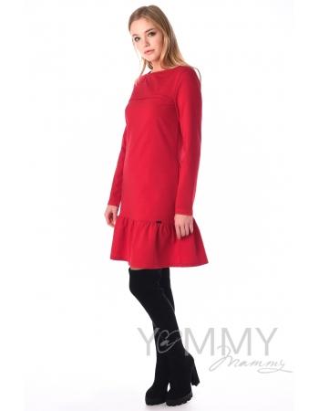 Платье для беременных и беременных с воланом, красное