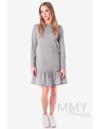 Платье для беременных и кормящих с воланом, серый меланж