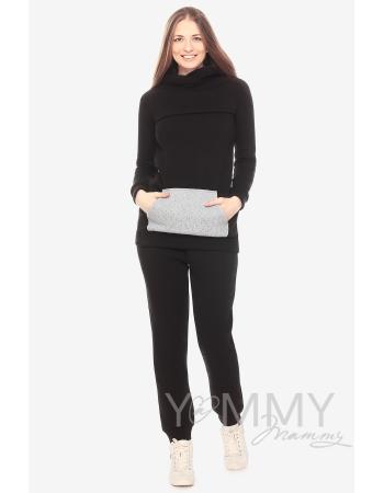 Брюки для родивших и беременных универсальные, с начесом черные